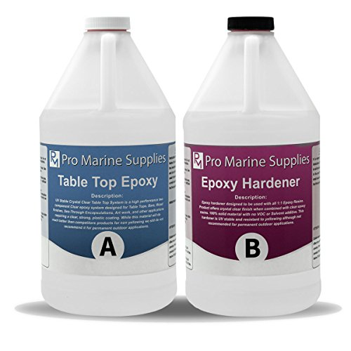 - Crystal Clear Bar Table Top Epoxy Resin Coating For Wood Tabletop - 2 Gallon Kit