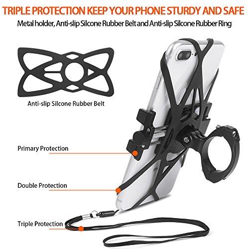 Bike Phone Mount, CHOETECH Aluminum Universal Bicycle Phone Holder Handlebar Mount Compatible iPhone X/8/8 Plus/7/7 Plus/6s/6 Plus,Samsung Galaxy S9/S8/S7/S7Edge/S6,GPS, Google Nexus, LG by CHOETECH (Image #1)