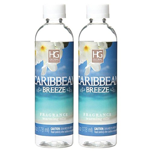 Hosley Aromatherapy Premium Caribbean Breeze Scented Warming Oils-Set of 2-6 fl oz ea.Made in USA. Bulk Buy. Ideal Gift for Weddings, Spa, Reiki, Meditation Settings O7 by Hosley