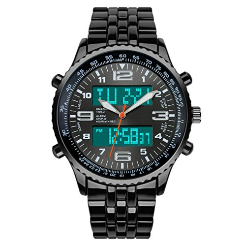 VIGOROSO Men's LED Digital Analog Sport Amry Fashion Steel Multifunction Black Watch -