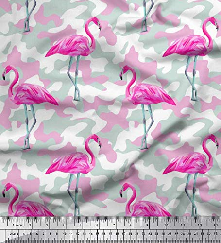 Voile Cotton Texture - Soimoi Pink Cotton Voile Fabric Camouflage Texture & Flamingo Bird Print Fabric by The Yard 42 Inch Wide