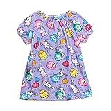 Baby Short Sleeve Dress, Kids Girls Cartoon Easter Egg Rabbit Print Dresses Princess Swing Sundress (2-3 Years, Purple)