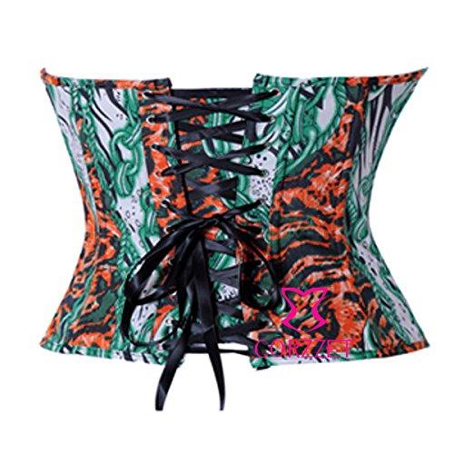 Corset Encaje Denims Overbust deshuesado ZAMME Clubwear Top 7 hasta Vintage Color Floral Bustier Mujer qIx0Z6