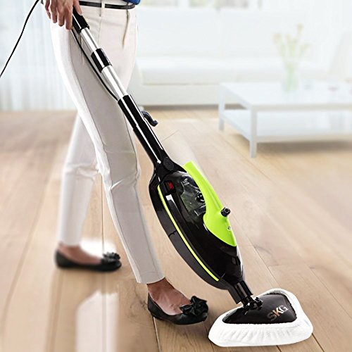 SKG 1500W Powerful Non-Chemical 212F Hot Steam Mops & Carpet and Floor Cleaning Machines (6-in-1 Accessories & 3 Microfiber Pads Included) - Steam Cleaners