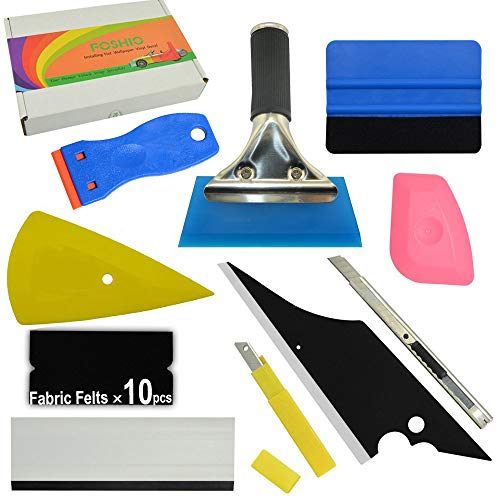 FOSHIO 10 in 1 Auto Vinyl Wrap Tool Kit Include Rubber Contour Squeegee, Blue Card Squeegee and Fabric Felt, Plastic Razor Scraper, Film Cutter and Blades, Scratch-Proof Window Tint Application Tools