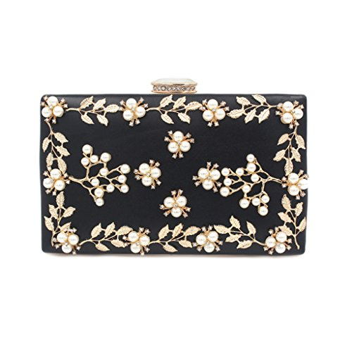 Red Women's Evening Wedding Black Purse JAGENIE Bridal Noble Party Pearl Beaded bags Clutch POxSnqfRw