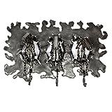NOVICA Animal Themed Large Upcycled Metal Coat Rack, Metallic, 'Stampede'