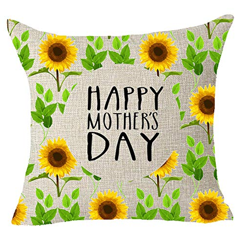 FELENIW Watercolor Sunshine Sunflower Happy Mothers Day Cotton Linen Decorative Throw Pillow Cover Cushion Case 18x18 inches
