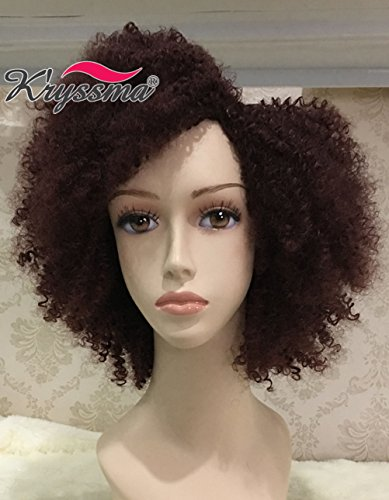 K'ryssma Christmas Wine Red Natural Looking Afro Kinky Curly Wig Short Burgundy 99j Side Part Fluffy Soft Fiber Hair Cheap Synthetic Wigs for Black Women Full Machine Made Heat Resistant