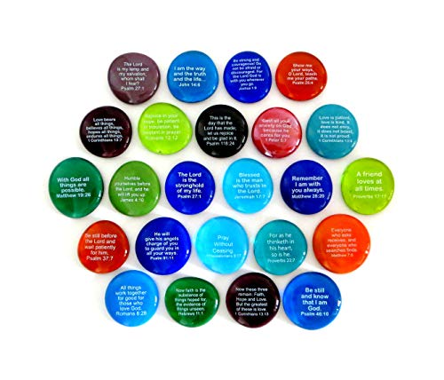 Scripture Glass Stones, 24 of Your Favorite Inspiring Bible Verses on Translucent and Opaque Rocks, by Lifeforce Glass, Set II. (Verse Bible Favorite)