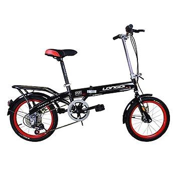 LETFF Bicicleta Plegable para Adultos De 16 Pulgadas, Absorción De Choque De Velocidad Variable para