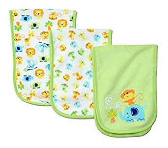Gerber Unisex-Baby Newborn 3 Pack Terry Burp Cloths, color:As shown, One Size