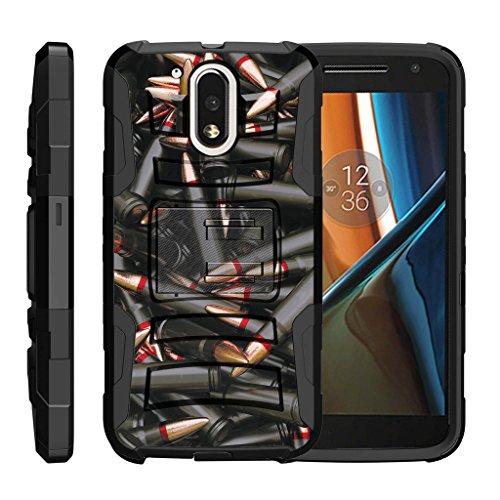 - TurtleArmor   Motorola Moto G4 Case   Moto G 4th Gen   Moto G4 Plus Case [Hyper Shock] Rugged Shell Kickstand Shock Silicone Holster Clip Military War Camo Design - Black Bullets