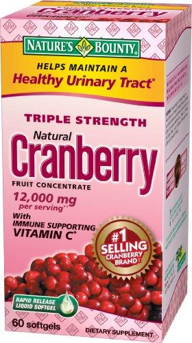 Nature Bounty Cranberry Triple Strength avec de la vitamine C, 60 Capsules (pack de 2)