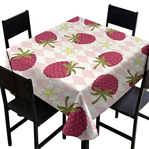 - Warm Family Elegance Engineered Tablecloth Raspberry Pink Seamless Wallpaper Indoor Outdoor Camping Picnic W63 x L63