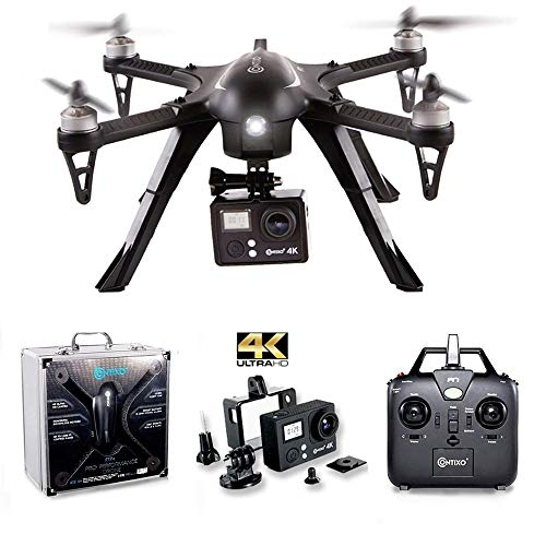 Contixo F17 RC Quadcopter Photography Drone 4K Ultra HD Camera 16MP, Brushless Motors, 1 High Capacity Battery, Mount Compatible with GoPro Hero Cameras (F17 Alum Case)