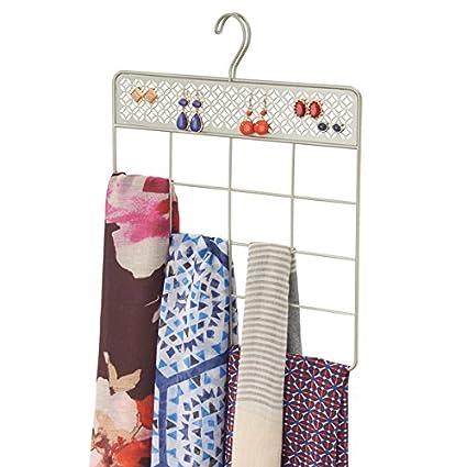mDesign Organizador de ropa y accesorios para armario – Práctica percha para pañuelos, corbatas y accesorios – Colgador de cinturones y toallas para ...