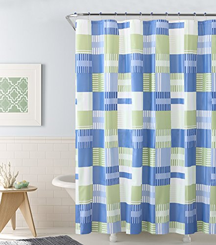 Alex 13-Piece PEVA Shower Curtain and Hook Set, Beautiful Accent With Bold Colors, Mildew Resistant- Water Repellent Curtain, Great For A Refreshing Look, Striped Inspired, 72x72 Inches (Blue-Green)