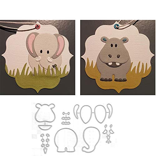 (Bear with Elephant Cute Animals Metal Cut Cutting Dies Mold Tool for Handmade DIY Craft Scrapbooking Scrapbook Paper Cards Making Decorative Crafts Supplies New 2019)