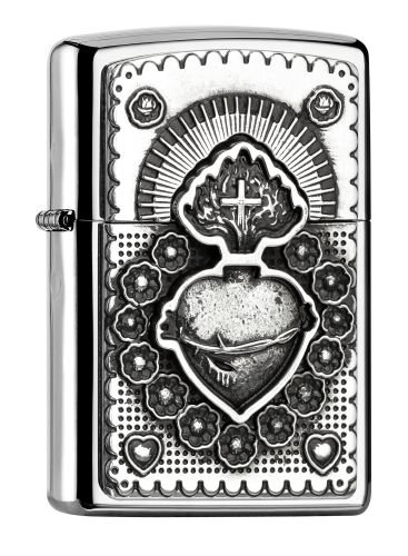 "Zippo ""Mexican Heart"" Polished Chrome Emblem Lighter"