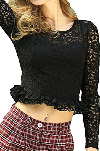 Voguehive - Camiseta de manga larga - Cuello redondo - Manga Larga - para mujer