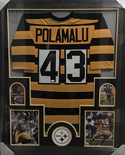 Troy Signed Jersey Polamalu (Autographed Troy Polamalu Picture - Bumble Bee Jersey 4 Pictures Professionally Framed - Autographed NFL Photos)