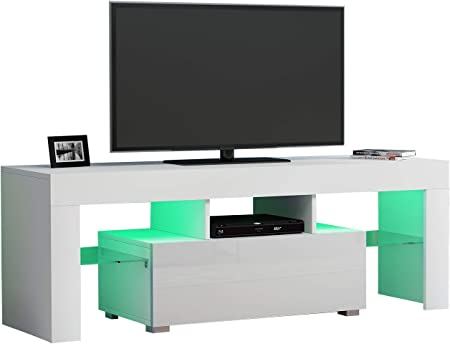 Volowoo - Mueble de TV LED, diseño moderno de muebles de salón, 130 cm, 130 x 45 x 35 cm (largo x ancho x alto).: Amazon.es: Hogar