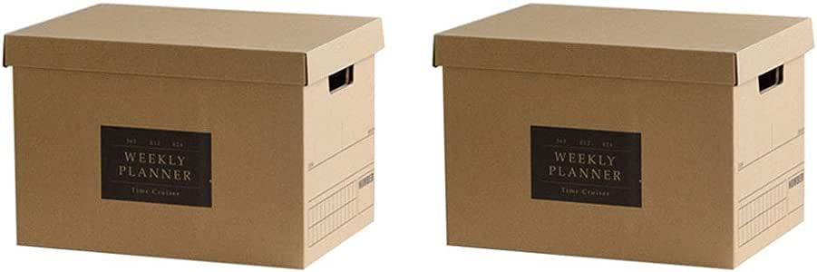 Baffect Caja de almacenamiento de cartón corrugado con tapa Caja de almacenamiento para libros cajas de almacenamiento con tapa Caja de cartón con asa Caja de cartón, Patrón de palabras de 2