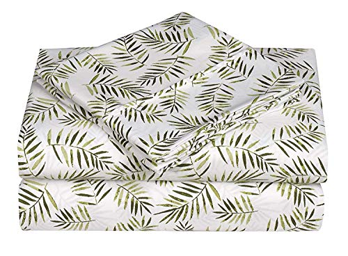 - Caribbean Joe Ultra-Soft Double Brushed 4-Piece Microfiber Sheet Set. Beautiful Tropical Patterns, and Vibrant Solid Colors, Luxury, All-Season Bed Sheet Set - Palm Leafs, Queen