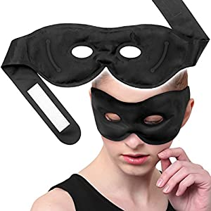 Sleep Eye Mask with Hot Cold Therapies Reusable and Fast Relief for Dry Eyes, Puffy Eyes, Dark Circles and More-Black