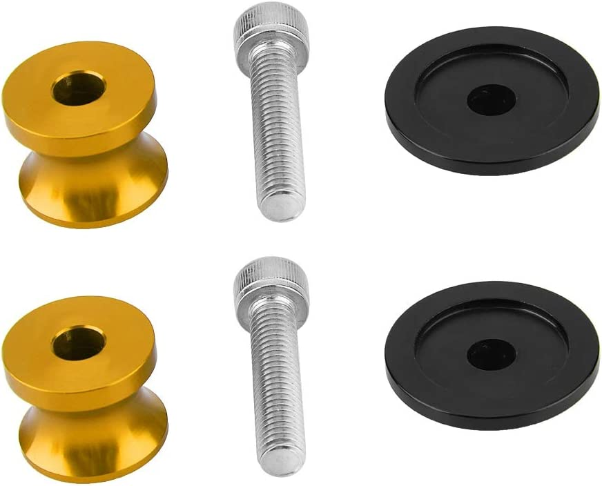 Gold KIMISS Rear Stand Swing Arm Spool Sliders Swingarm Bobbins Universal for Motorcycles CNC Aluminum Alloy 2pcs 8mm Spool Sliders