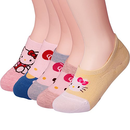 Hello Kitty Clothing For Adults (Womens Hello Kitty Basic 3 to 8 Pack Casual Fashion No Show Liner silicon Fake Peds Foot Socks Non Slip Socks (Hello Kitty -B Set))