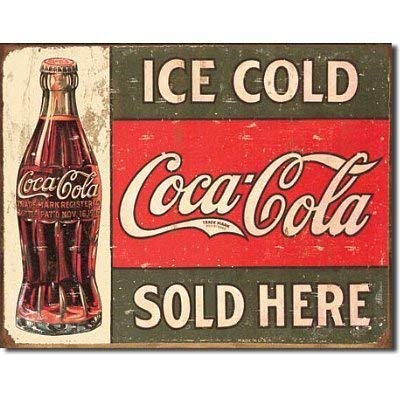 MMNGT Ice Cold Coca Cola Coke Sold Here 1916 Distressed Retro Vintage Tin Sign TIN Sign 7.8X11.8 INCH