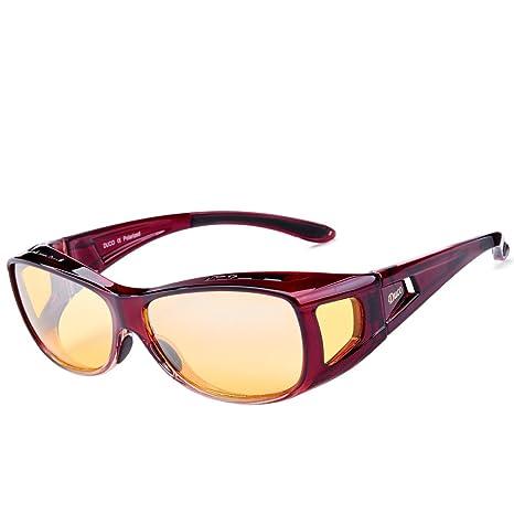SUR-LUNETTES POUR CONDUITE DE NUIT, noires, pour hommes et femmes, à porter par-dessus les lunettes habituelles; verres jaunes, antireflet, idéales l'hiver lunettes nocturne