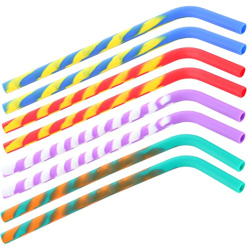 ARAD Silicone Crazy Swirl Reusable Kids Drinking Straws – 8 (Chew Straws)