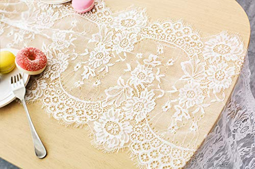 - Letjolt White Lace Table Runner Embroidered Lace Fabric Vintage Table Runner Centerpiece for Rustic Chic Wedding Decoration Boho Party Bridal Shower Decor Baby Shower Decorations 14