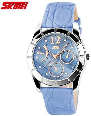 Girl's Perfect Crocodile Striae Band Quartz Watch Blue
