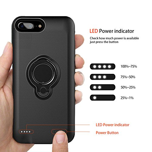 iPhone 8 Plus Battery circumstance iPhone 7 Plus Battery circumstance Hathcack awesome Capacity7200 mAh Extended Battery Charger circumstance Rechargeable electrica Bank for iPhone 8 Plus 7 Plus 6 Plus for CanadianBlack Battery Charger Cases