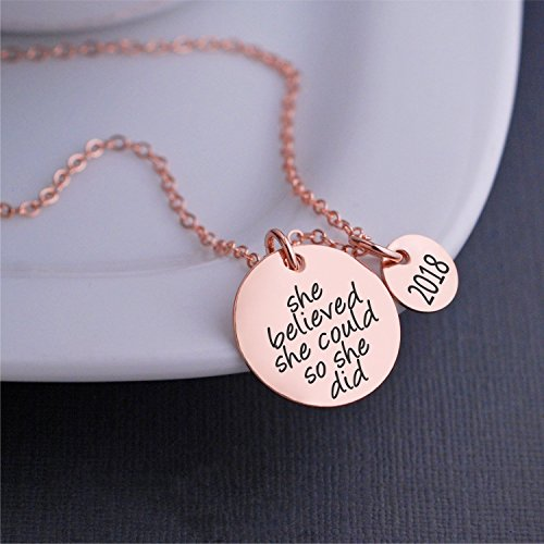 Rose Gold She Believed She Could So She Did Necklace with 20