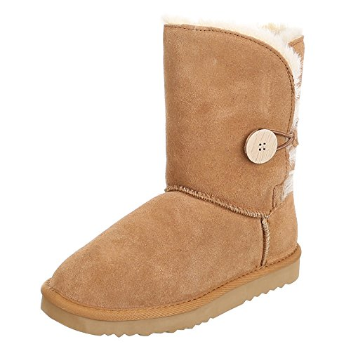 Womens Shoes, WX5835, Warm Lined Suede Boots Brown - Camel