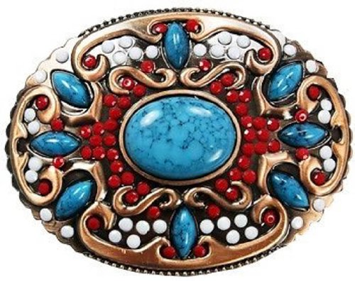 Beautiful Western Turqoise And Red White Stones Round Belt Buckle (Big Western Belt Buckles)
