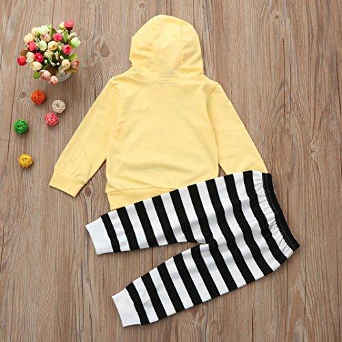 Omiky® Neugeborene Säuglingsbaby-Buchstabe-Flaschen-Druck-Kapuzenpulli Tops + Hosen-Ausstattungs-Kleidung-Satz Gelb