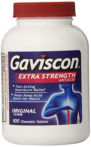 Gaviscon Extra Strength Chewable Antacid Tablets, Original, 100 Count