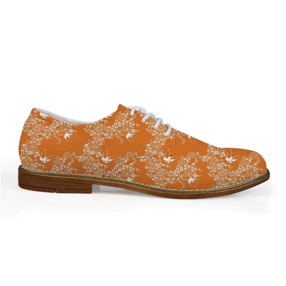 f6aa829228961 Amazon.com | Orange Stylish Leather Shoes, Asian Style Spring Meadow ...