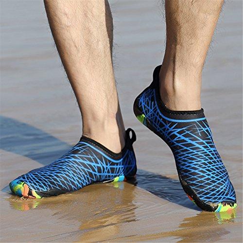 SAGUARO Sommer Strand Badeschuhe Schlüpfen Schnell Trocknend Schwimmen Aquaschuhe Mesh Slip On Wasserschuhe für Damen Herren Blau