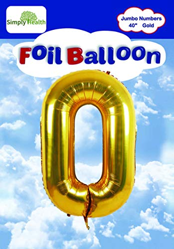 40 Gold Jumbo Digital Number Balloons Huge Giant Balloons Foil Mylar Balloons for Birthday Party,Wedding, Bridal Shower Engagement Photo Shoot, Anniversary (Number Zero #0)