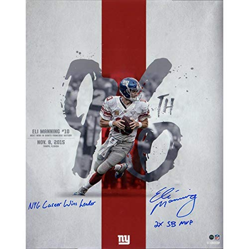 "Eli Manning Signed 96th Career Win 16x20 Metallic Photo w/""NYG Career Wins Leader 2x SB MVP"" Insc (Lopez Design) - Steiner Sports Certified"