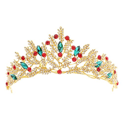 Unicra Baroque Gold Crown with Shining Crystal Wedding Queen Tiaras and Crowns for Women Decorative Headbands for Prom
