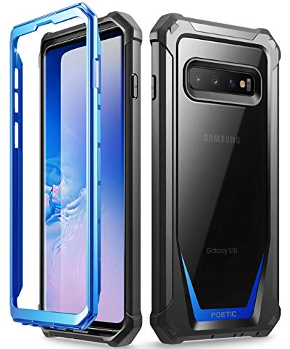 Galaxy S10 Rugged Clear Case, Poetic Full-Body Hybrid Bumper Cover, Support Wireless Charging, Without Built-in-Screen Protector, Guardian Series, Case for Samsung Galaxy S10 2019, Blue