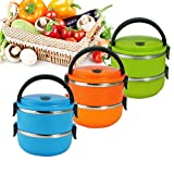 DINY Home & Style Double Layer Stainless Steel Vacuum Lunch Box Bento 1.4L (Random Color Shipped)